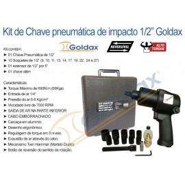 """CHAVE DE IMPACTO 1/2"""" 690NM (69Kg) GOLDAX (c/ Kit de Soquetes)"""