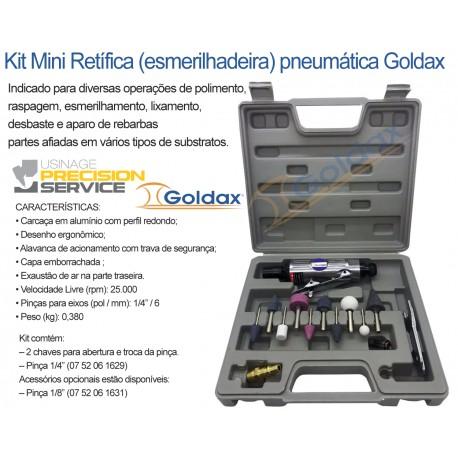 Kit Mini Retífica (esmerilhadeira) pneumática Goldax